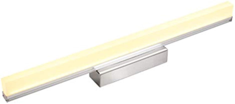 Badezimmer LED Spiegel Lampe Moderne Spiegel Frontleuchte Edelstahl Make-up Rasur Beleuchtung 12 Watt Warmwei 50CM Silber