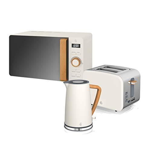 Swan Nordic Set Desayuno Hervidor de agua 1,7L 2200W, Tostadora Pan ranura ancha 2 rebanadas, Microondas 20L digital, diseño moderno, efecto madera, blanco