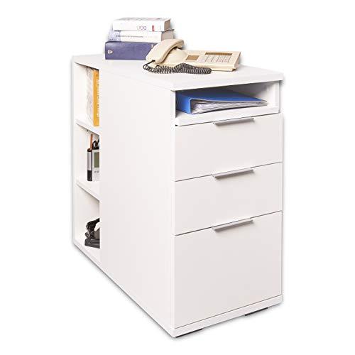 Rollcontainer Weiss - Container - Mit Schubladen und Regal [Mehr Variationen] - Beistelltisch - Bürocontainer - Schubladenschrank - Anstellcontainer ca. B40cm x H 75 cm x T75cm | Büro Möbel Zubehör