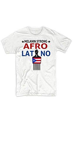 Warface Apparel Afro Latino T Shirt Puerto Rican Boricua Afro Pick Taino African Latin Roots (Medium) White