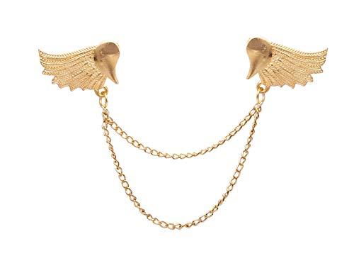 Knighthood Par de alas doradas con cadena colgante de aleación, broche para cuello, pin de solapa, para hombres