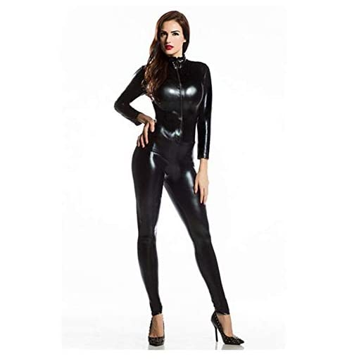 Gesikai01 Women's Sexy Metallic Catsuit Bodysuit – Shiny Deep V Collar Zentai Silver Gold Black Red Onepiece Jumpsuit
