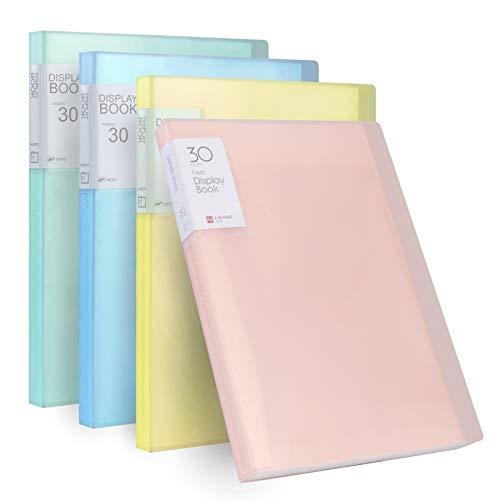 Carpetas de Fundas A4, Libro de Presentación con 30 Hojas, Plastico PP Carpeta para Archivo para Hojas de Música, Dibujos, Archivadoras Clasificadoras En Oficina Escolares (4 PCS)