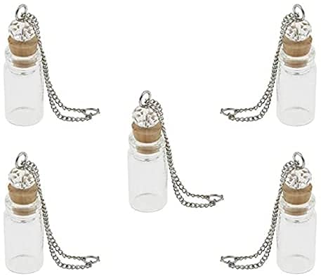 5PCS 22x11MM Botella de Vidrio Colgante Llavero Wish Secret Keep Difusor de Aceite Esencial Viales Collar Colgante Botellas con corchos