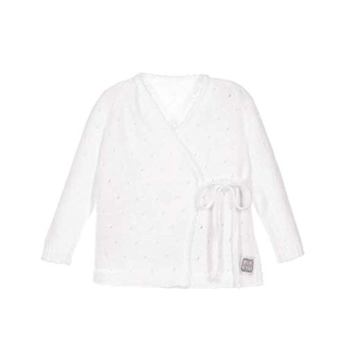 Minutus Jersey de Punto Bebé, Modelo Aire, 100% Algodón (Blanco, 1-3 meses)