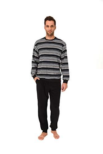Herren Frottee Schlafanzug Pyjama lang mit Bündchen - auch in Übergrösse erhältlich - 59672, Größe2:50, Farbe:dunkelgrau
