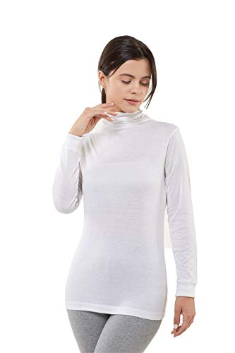 A1010 Women's Silk Long Sleeve Turtle Neck Top (White, Large)