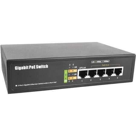 BV-Tech 5 Port Gigabit PoE Switch (4 Gigabit PoE Port + 1 Gigabit Uplink) – 65W – 802.3af/at