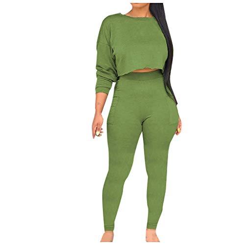 jiumoji - Conjunto de Dos Piezas de Cuello Redondo para Mujer, Sudadera de Color sólido con Mangas largas y Pantalones Finos con Bolsillo, Green, Large