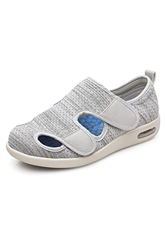 ZUMEIJIA Women's Diabetic Shoes for Women Casual Velcro Adjustable Walking Shoes Wide Shoes for Elderly Swollen Feet Non-Slip Air Cushion Bottom Fattening and Widening Light Grey 6.5