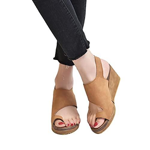 HUAJIE Sandalias para Mujer Flips Flops Cómodas Zapatillas De Plataforma Cómodas Señoras Verano Playa Corrector Juanetes Ortopédico Resbalón En Cuña Zapatos Antideslizantes Casuales,Camel,36