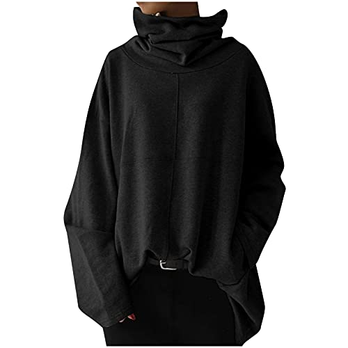Plus Size Tops for Women Turtleneck Sweatshirt Oversized Long Sleeve Blouse Patchwork Pullover Fall Solid Color Tops Black
