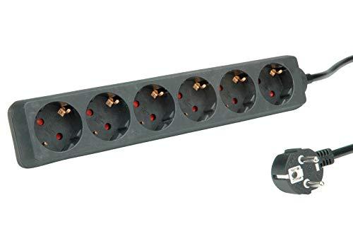 ROLINE 6-voudige stekkerdoos zonder schakelaar   randaarde   stekkerdoos   zwart   1,5 m
