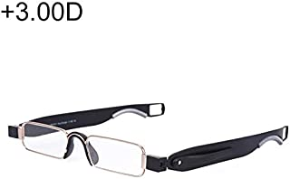WTYD Clothing and Outdoor Accessories Portable Folding 360 Degree Rotation Presbyopic Reading Glasses with Pen Hanging, 3.00D(Black) Outdoor Equipment (Color : Black)