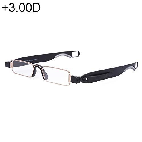 Jsansui leesbril, draagbaar, 360 graden draaibaar, leesbril met hangende pen, (+ 3,00D/zwart)