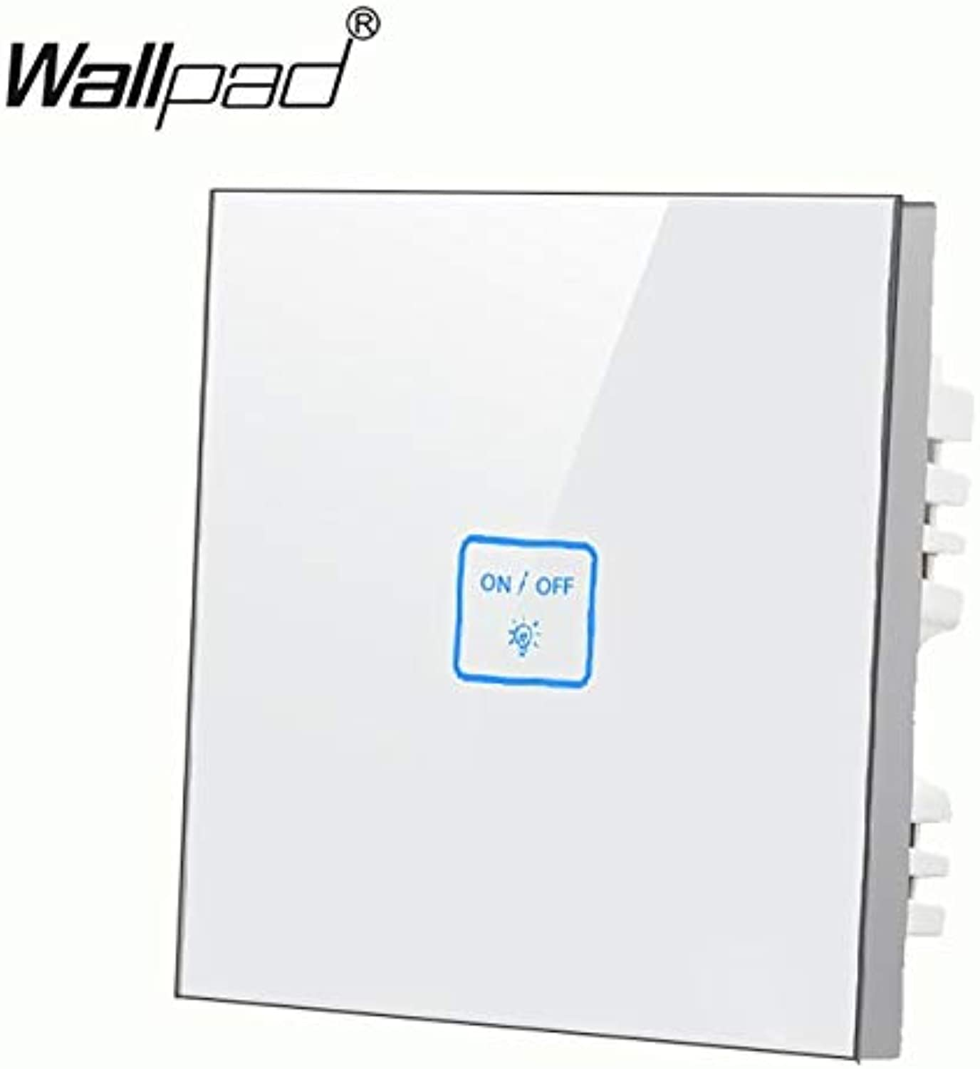 Top Quality 1 Gang 2 Way Purple Touch Wall Light Switch LED Indicator Glass Touch Switch Free DIY Power Switch  (color  White)