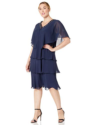 S.L. Fashions Women's Plus Size Rhinestone Trimmed Cape Jacket Multi Tiered Dress, Navy, 16W (Apparel)