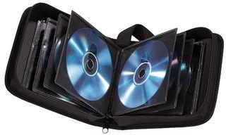 Hama CD Tasche für 20 Discs / CD / DVD / Blu-ray (Mappe zur Aufbewahrung , platzsparend für Auto und Zuhause, Transport-Hüllen) Schwarz