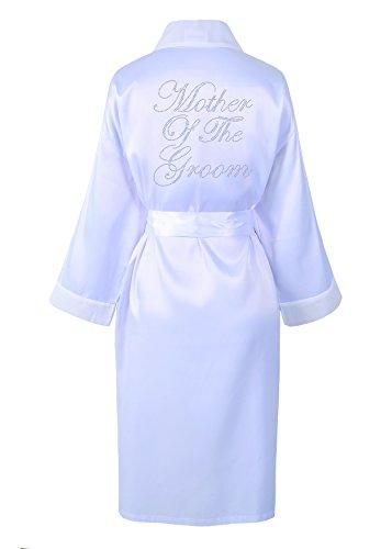 CrystalsRus Weiß Varsany Hochzeitstag Strass Satin Mutter des Bräutigams Bademantel individueller Flitterwochen Morgenmantel