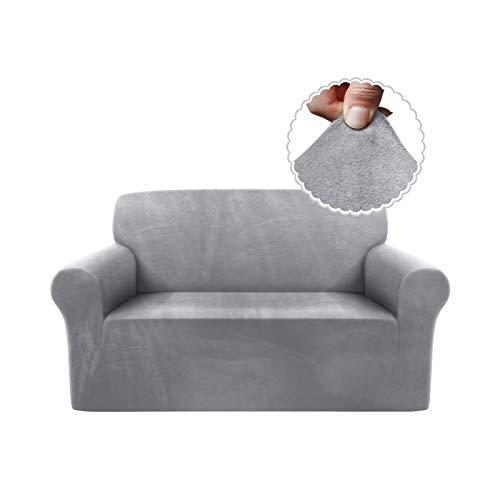 TAOCOCO Funda de sofá Funda de sofá de Terciopelo Mantas de sofá Funda de sofá elástica Fundas de sofá para Sala de Estar (Gris Claro, 2 Plazas)