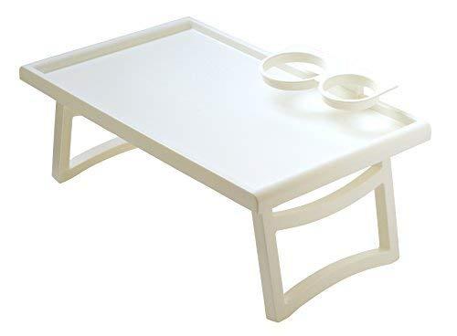 Plastia Serviertisch Betttisch Bett Tisch für Pflegebett Laptoptisch (Weiss, Standard)