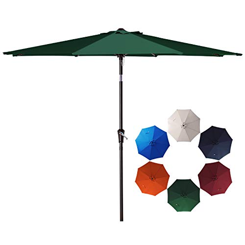 SMLIXE 10ft Patio Garden Table Umbrellas Outdoor Market Sunbrella With Push Button Tilt and Crank Lift System UV Protection Waterproof Sunproof Dark Green