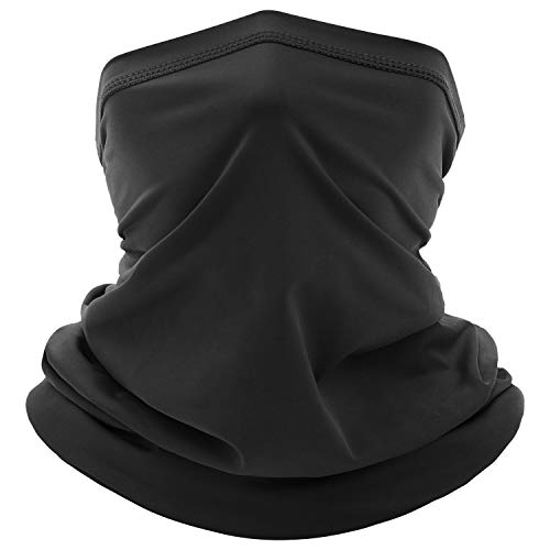 Neck Gaiter Face Mask for Men Women Summer Cooling Breathable Neck Wraps Face Cover Scarf Filter for Hiking Cycling Fishing (Black)