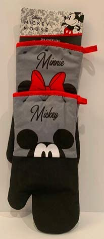 Disney Mickey Minnie Mouse Oversized Heat resistant Oven Mitts 2 Pack Peek a Boo Grey Black product image