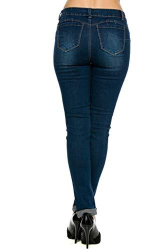 Wax Denim Women's Juniors Distressed Slim Fit Stretchy Skinny Jeans (7, Medium Denim)