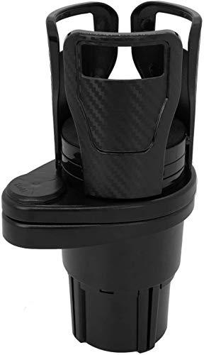 Car Cup Holder Expander Adapter- Dual Drink Holder for Car- Cup Holder Extender- 2 in 1 Multifunctional Cup Mount Extender with 360° Rotating Base, Hold up to 17 oz-20 oz Bottled, Carbon Fiber Black