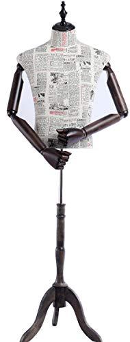 Eurohandisplay Schneiderpuppe, Zeitung Muster stoffbezogenen Oberkörper mit Deckel aus Holz,Arme und Finger aus Holz beliebig verstellbar, Dunkler Holzstand (A2-G männlich)