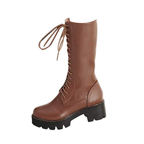 MEHOUSE Bottes Hautes en Cuir,Overdose Hiver Bottes Noir Long Boots mi-Montantes Plateforme cale de Talon Bottes Montantes À Lacets avec Fermeture Éclair Chaussures à Hautes Knight Boots