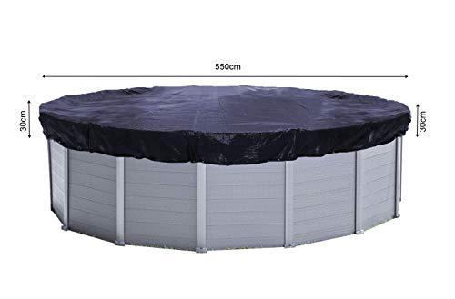 Quick-Star Cubierta de invierno, Tendal solar, Redonda, Diámetro 610 cm, Para piscinas de 500-550 cm, 200 g/m², Color Negro