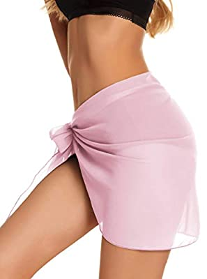 CHICGAL Women's Sarongs Summer Beach Wrap Shorts Bikini Bathing Suit Cover-ups Sheer Swimwear (Pink,M)