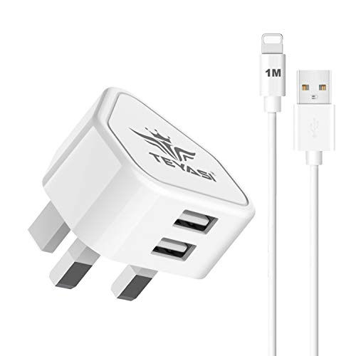 TEYASI Phone Charger Plug with Cable 1M Smart IC Fast Charging for iPhone Xs/Xs Max/XR/X 8/7/6/6S Plus 10 SE/5S iPad iPod,Dual USB Wall Plug Adapter UK 2.1A and long Lead