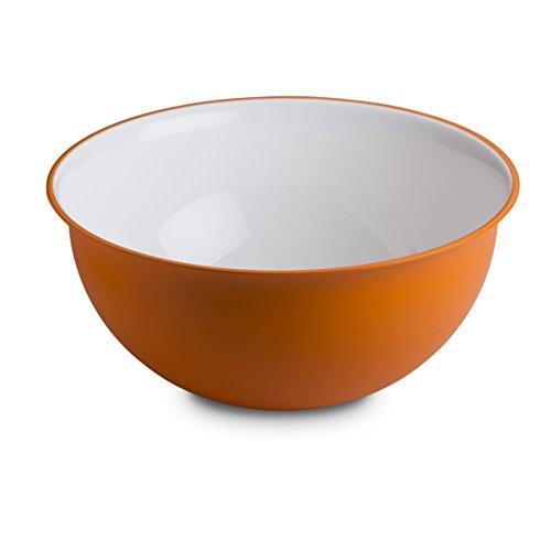 Omada Design Schüssel für Pasta und Salat (6,5 Liter), Schüssel aus Polypropylen und integrierten antimikrobiellen Mitteln eliminiert Bakterien und Pilze. Made in Italy, Linea Sanaliving, Weiß Orange