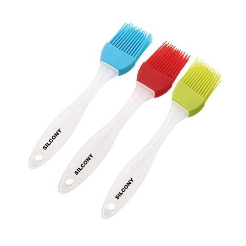 Silcony 3-Piece Set Heat Resistant Silicone Basting Pastry Brushes 7-Inches, Assorted Colors