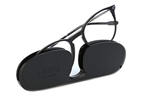 Nooz Optics - Lesebrille - Essential Alba - Ovale Form - Ultra leichtee Nylonrahmen - Ultra-kompaktes Etui für den täglichen Gebrauch - 6 Farben - Männer und Frauen,Schwarz,+1.5