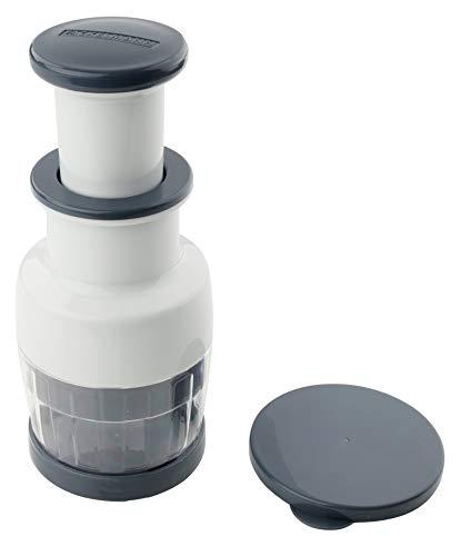 FACKELMANN Zwiebelhacker #easyprepare, hochwertiger Zwiebel-, Gemüse- und Kräuterhacker mit durchsichtigem Auffangbehälter, sicherer Halt durch Anti-Rutsch-Füße (Farbe: Weiß/Blau-Grau)