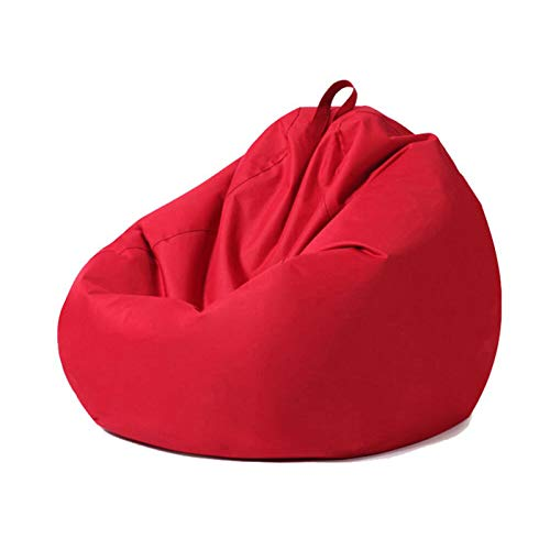 ZZX Puf Funda para niños y Adultos, Impermeable PVC Cubierta Puff Sofá Ideal para Silla de Juegos y Silla de jardín, Bolsa de Almacenmiento Sin Relleno,Rojo,70 * 80CM