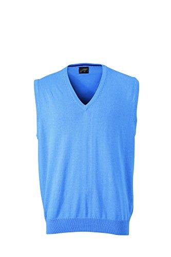 James & Nicholson Pull sans Manches avec col en V pour Homme Large Blau (Glacier-Blue)