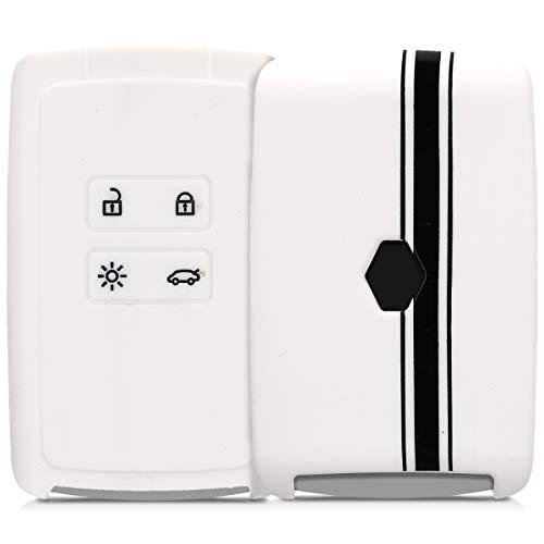 kwmobile Autoschlüssel Hülle kompatibel mit Renault 4-Tasten Smartkey Autoschlüssel (nur Keyless Go) - Silikon Schutzhülle Schlüsselhülle Cover Rallystreifen Sidelines Schwarz Weiß