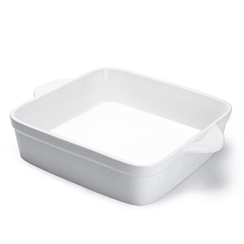 Sweese 514.101 Porcelain Baking Dish, 8 x 8 inch Baker, Square Brownie Pan with Double Handle, White