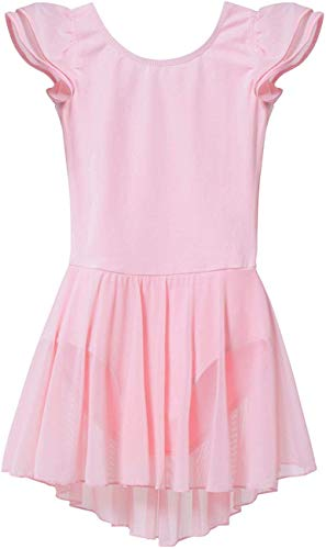 MdnMd Pink Girls' Flutter Sleeve Dance Ballet Leotard Dress with Tutu Skirt (Toddler/Age 2-4)