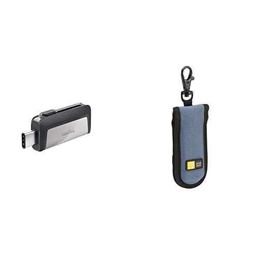 SanDisk 256GB Ultra Dual Drive USB Type-C - USB-C, USB 3.1 - SDDDC2-256G-G46 & Case Logic JDS-2 USB Drive Shuttle 2-Capacity (Black/Blue)