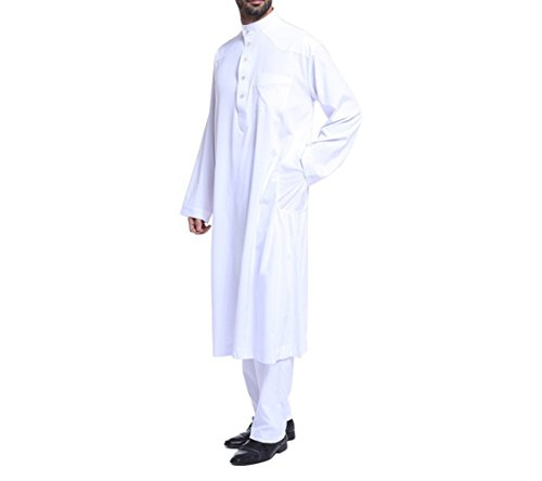 zhbotaolang Herren Middle East Thobe mit Hosen, Casual Dubai Arab Kaftan Kleidung,Weiß,L
