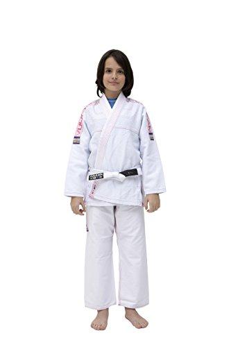 Vulkan Fight Company Brazilian Jiu Jitsu, Girls' BJJ Ultra-Light GI for Martial Arts Sports, White w/Pink Patches, M3