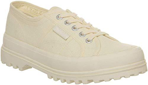 Superga 2555 Cotu Damen Sportschuhe zum Schnüren, Weiß, Weiß - Adidas Sportschuhe mit Stollen - Größe: 4 UK