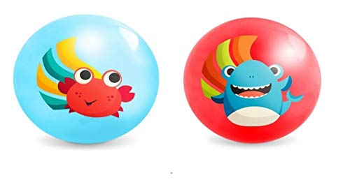 """B. toys – Bouncy Balls for Kids – 2 Pack – 8.5"""" – Air Pump Included – Shark & Crab Play Balls – Indoor & Outdoor – Playground Games – Bouncin' Around – 3 Years +"""