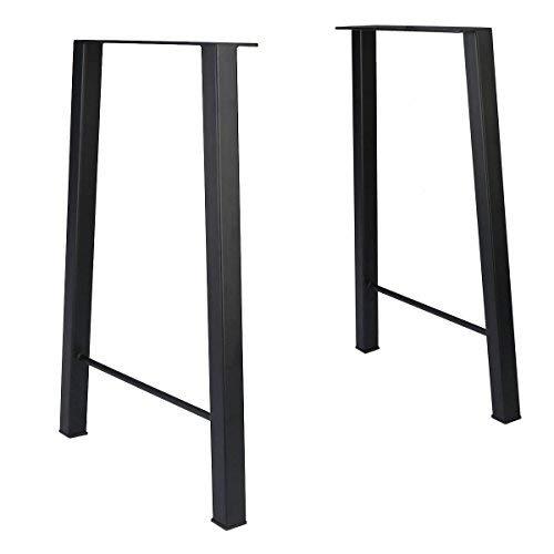 Tengchang 28'' Industry Trapezoid Dinner Table Leg Metal Cast Iron Bench Legs Set of 2